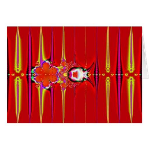 fractal rojo del resplandor tarjeta