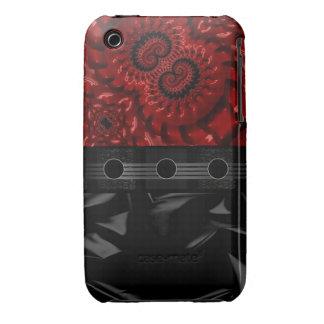 Fractal rojo negro hermoso iPhone 3 Case-Mate fundas