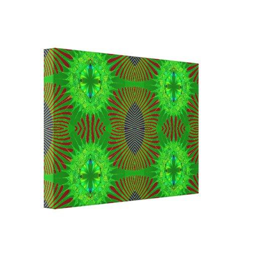 Fractal rojo verde de la joya impresión en lienzo