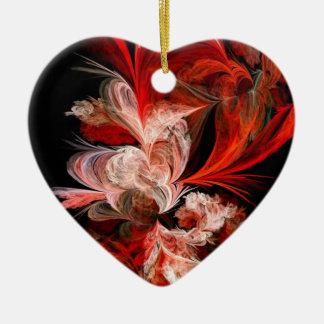 Fractal rojo y blanco adorno navideño de cerámica en forma de corazón