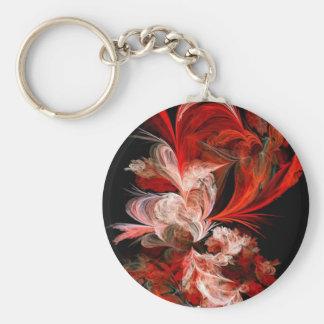 Fractal rojo y blanco llavero redondo tipo pin