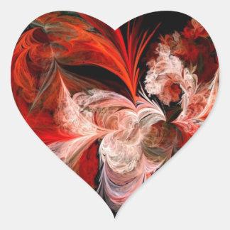 Fractal rojo y blanco pegatina en forma de corazón