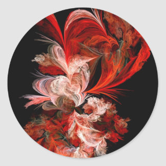 Fractal rojo y blanco pegatina redonda