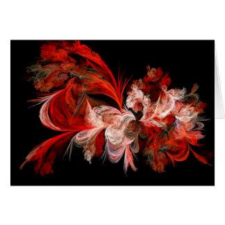 Fractal rojo y blanco tarjeta de felicitación