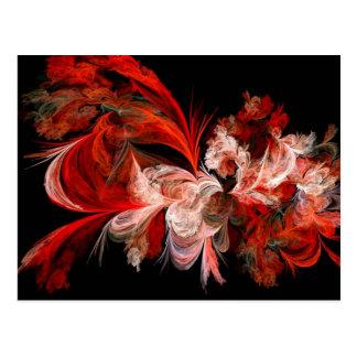 Fractal rojo y blanco tarjeta postal
