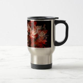 Fractal rojo y blanco taza de viaje