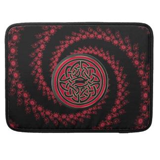 Fractal rojo y negro con el nudo céltico funda para macbook pro