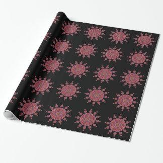 Fractal rojo y púrpura de la mandala del tulipán papel de regalo
