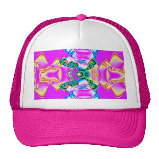 Fractal rosado de la cinta gorros bordados