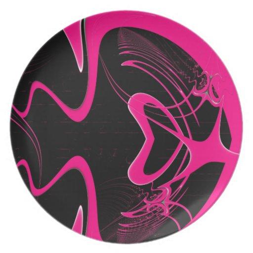 Fractal rosado del corazón platos