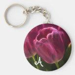 Fractal rosado del tulipán con el monograma llavero redondo tipo pin