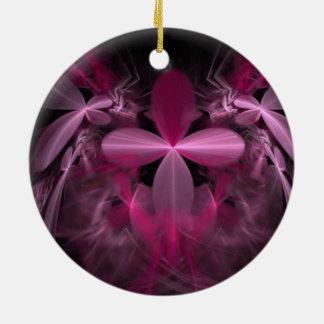 Fractal rosado hermoso de la flor adorno redondo de cerámica