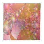 Fractal rosado y anaranjado de la burbuja tejas  cerámicas