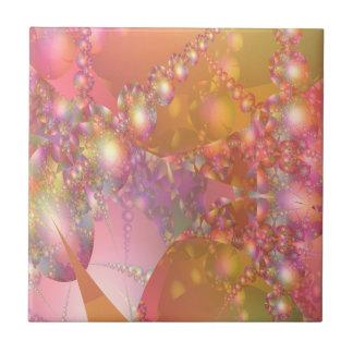 Fractal rosado y anaranjado de la burbuja azulejo cuadrado pequeño