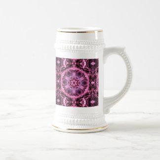 Fractal rosado y azul abstracto jarra de cerveza