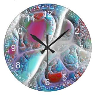Fractal rosado y ciánico abstracto del edredón reloj redondo grande