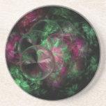 Fractal rosado y verde de la burbuja posavasos diseño