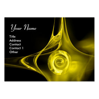 FRACTAL ROSE 1 bright yellow black Large Business Cards (Pack Of 100)