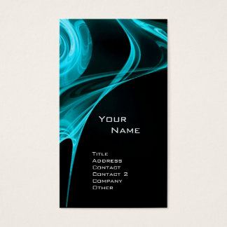 FRACTAL ROSE 3 bright light blue black Business Card