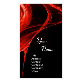FRACTAL ROSE 3 bright red black Double-Sided Standard Business Cards (Pack Of 100)