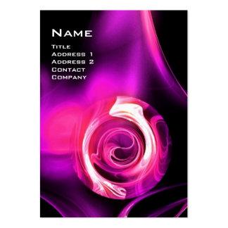 FRACTAL ROSE 4 MONOGRAM black bright purple pink Large Business Card