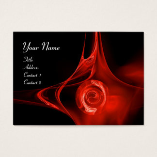 FRACTAL ROSE , ABSTRACT SWIRLS red black Business Card