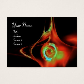 FRACTAL ROSE ABSTRACT SWIRLS red teal green black Business Card