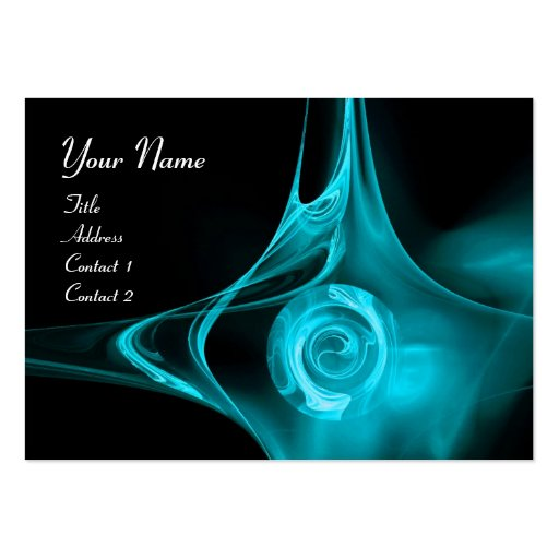 FRACTAL ROSE , ABSTRACT SWIRLS  teal blue black Business Card Template