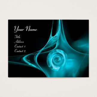 FRACTAL ROSE , ABSTRACT SWIRLS  teal blue black Business Card