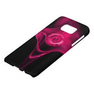 FRACTAL ROSE , Pink Fuchsia black Samsung Galaxy S7 Case