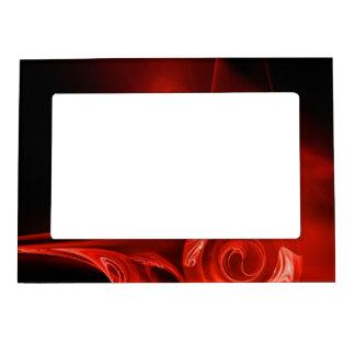FRACTAL ROSE , red ,black Frame Magnets