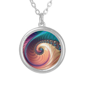 Fractal Round Pendant Necklace