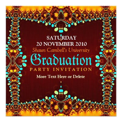 Fractal Royal Graduation Invitation