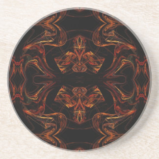 Fractal Series-14---Práctico de costa anaranjado 1 Posavasos Diseño