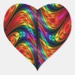 Fractal Silk Rainbow Heart Sticker