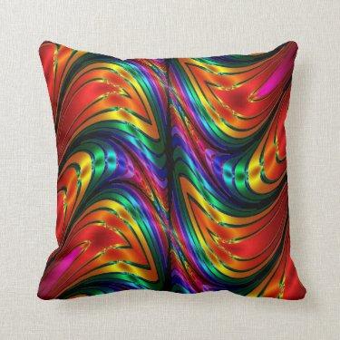 Fractal Silk Rainbow Pillow