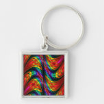 Fractal Silk Rainbow Silver-Colored Square Keychain