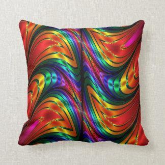 Fractal Silk Rainbow Throw Pillow