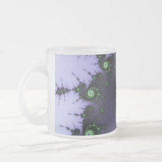 Fractal Snail - green and purple fractal design Frosted Glass Coffee Mug