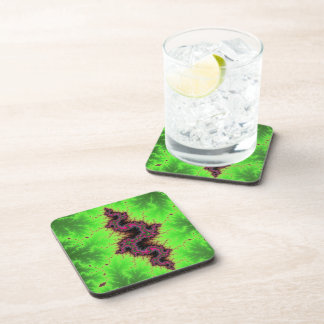 Fractal Snake - pink, fuchsia and neon green Drink Coaster