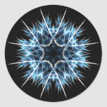 Fractal snowflake classic round sticker