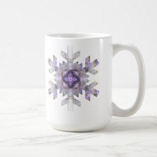 Fractal Snowflake in Purple and Gold Coffee Mug