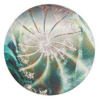 fractal spiral melamine plate