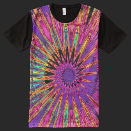 Fractal Spiral Pop All-Over Print T-shirt