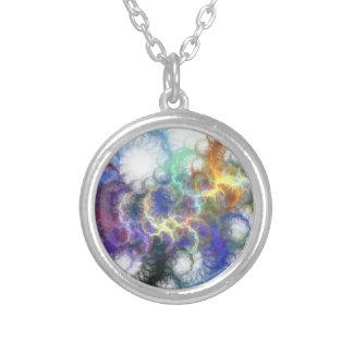 Fractal Spirals Silver Plated Necklace