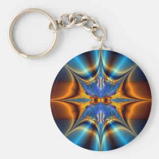 Fractal star basic round button keychain