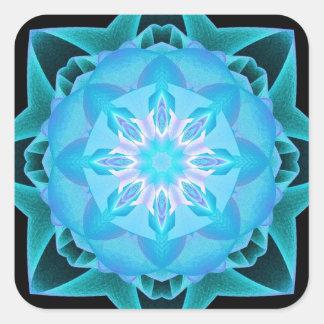 Fractal Stardust azul claro Pegatina Cuadrada