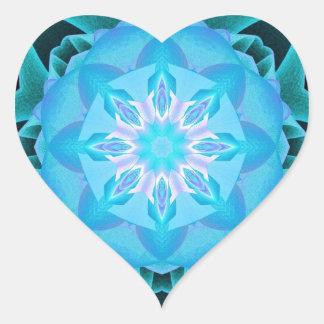 Fractal Stardust azul claro Pegatina En Forma De Corazón
