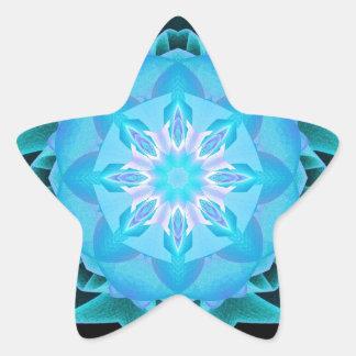 Fractal Stardust azul claro Pegatina En Forma De Estrella