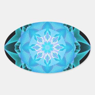 Fractal Stardust azul claro Pegatina Ovalada